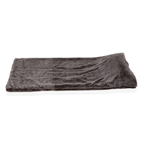Sumptuous Faux Fur Quilted Sleeping Bag Fully Lined and Detachable Pillow (Size 178x76 cm) Black