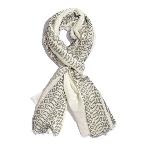 Grey Colour Handblock Stripe Printed White Colour Scarf (Size 180x70 Cm)