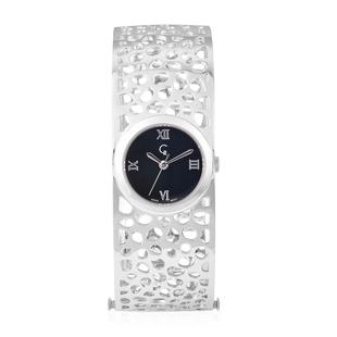 RACHEL GALLEY Swiss Movement Lattice Bangle Rhodium Overlay Sterling Silver Watch (Size 7.75), Silve