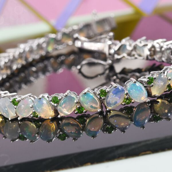 Ethiopian Welo Opal and Russian Diopside Bracelet (Size 7.5) in Platinum Overlay Sterling Silver 11.50 Ct, Silver wt 11.40 Gms