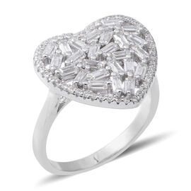 ELANZA Simulated Diamond Heart Cluster Ring in Rhodium Plated Silver