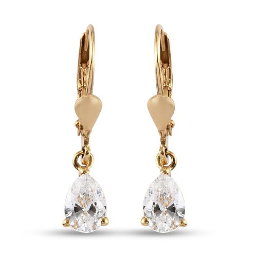 J Francis 14K Gold Overlay Sterling Silver Lever Back Drop Earrings Made with SWAROVSKI ZIRCONIA 2.2