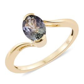 Limited Edition- Designer Inspired 9K Yellow Gold Peacock Tanzanite (Ovl) Solitaire Ring 1.250 Ct.