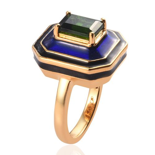 GP - Russian Diopside and Blue Sapphire Enamelled Ring in 14K Gold Overlay Sterling Silver 1.50 Ct, Silver wt 5.62 Gms