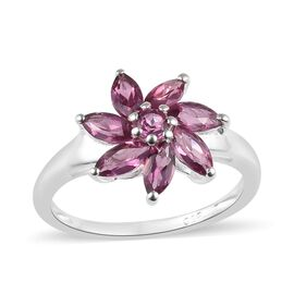 Lotus Garnet (Mrq and Rnd) Floral Ring in Sterling Silver 1.25 Ct.