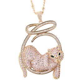 Simulated Multi Colour Gemstone Pretty Cat Pendant with Chain in Gold Tone 21 with 2 inch Extender