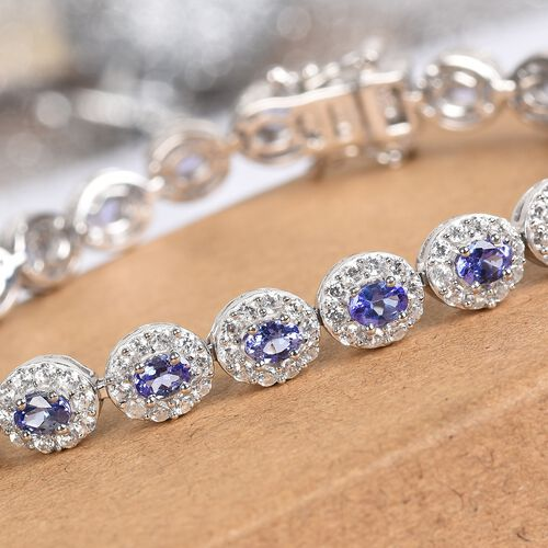 AAA Tanzanite and Natural Cambodian Zircon Tennis Bracelet (Size 7) in Platinum Overlay Sterling Silver 9.00 Ct, Silver wt. 12.00 Gms