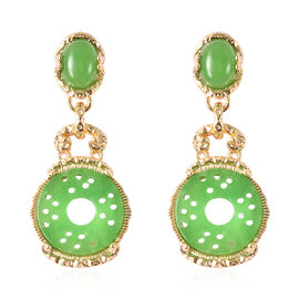 Green Jade Earrings (with Push Back) in Yellow Gold Overlay Sterling Silver 9.50 Ct, Sliver wt 6.01