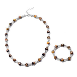 2 Piece Set - Yellow Tiger Eye Bamboo Necklace (Size 20 with 2 inch Extender) and Stretchable Bracel