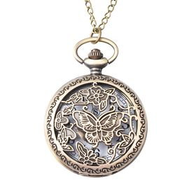 STRADA Japanese Movement Butterfly Pattern Water Resistant Pocket Watch with Chain (Size 30)