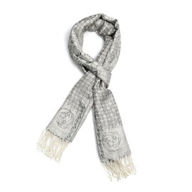 SILK MARK - 100% Superfine Silk White, Silver and Multi Colour Floral and Paisley Pattern Scarf (Siz