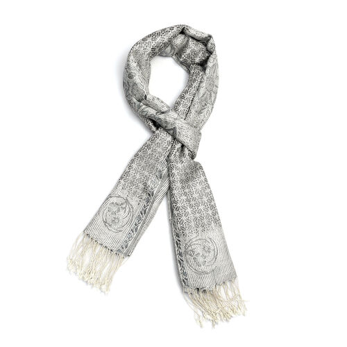 SILK MARK - 100% Superfine Silk White, Silver and Multi Colour Floral and Paisley Pattern Scarf (Size 180x70 Cm)