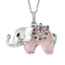 27.50 Ct Rose Quartz and Multi Colour Austrian Crystal Elephant Pendant with Chain