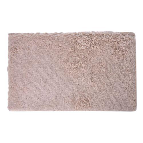 Cream Colour Faux Fur Bathmat (Size 80X50 Cm), Toilet Cover (Size 45X40 Cm) and Contour Mat (Size 50X40 Cm) with Anti Slip Rubber at Back