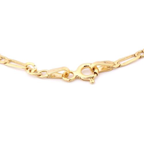 Italian Made -9K Yellow Gold Figaro Bracelet (Size 7.5)