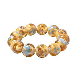 Millefiori Collection Champagne Colour Murano Style Glass Stretchable Beaded Bracelet 7 Inch