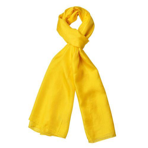 100% Mulberry Silk Primrose Yellow Colour Scarf (Size 175X90 Cm)