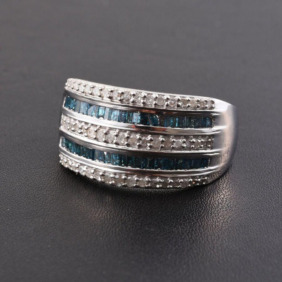 Blue Diamond Platinum: 1 Ct Blue And White Diamond Platinum Overlay Silver Half