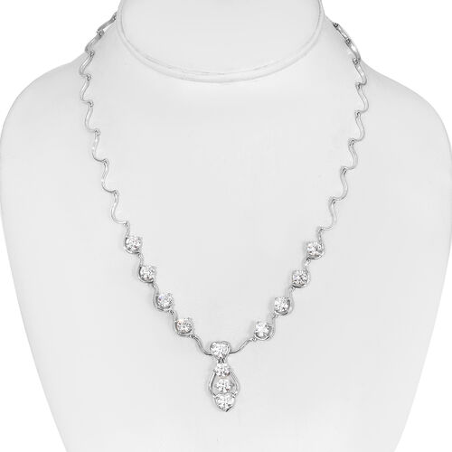 J Francis Platinum Overlay Sterling Silver Necklace (Size 18) Made with SWAROVSKI ZIRCONIA, Silver wt. 14.50 Gms