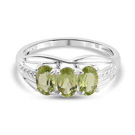 Hebei Peridot 3 Stone Ring in Sterling Silver 1.65 Ct.