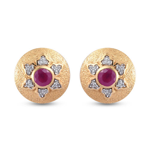 GP Italian Garden Leaf and Flower - African Ruby, Natural Cambodian Zircon and Blue Sapphire Stud Ea