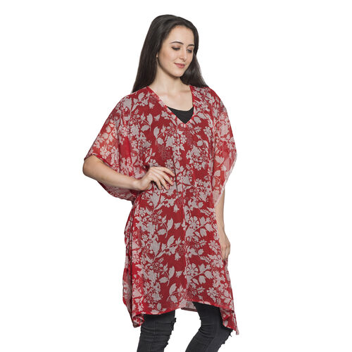Floral and Leaves Pattern Red Colour V-Neck Kaftan (Free Size)