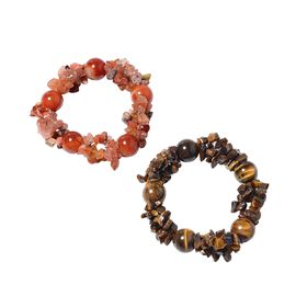 Set of 2 - Tigers Eye and Red Agate Stretchable Bracelet (Size 7) 490.00 Ct.