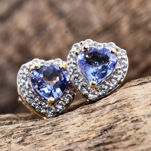 9K Yellow Gold 1 Ct AA Tanzanite Heart Stud Earrings (with Push Back) with Natural Cambodian Zircon