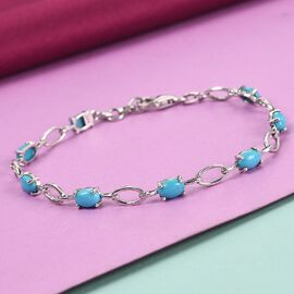 Sleeping Beauty Turquoise Line Bracelet 1 Row (Size - 7) in Platinum Overlay Sterling Silver 3.00 ct  3.000  Ct.