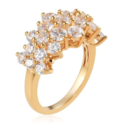J Francis - Yellow Gold Vermeil Sterling Silver (Rnd) Ring Made with SWAROVSKI ZIRCONIA 2.41 Ct.
