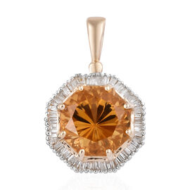 9K Yellow Gold AA Citrine (Oct 3.75 Ct), Diamond Pendant  4.150 Ct.