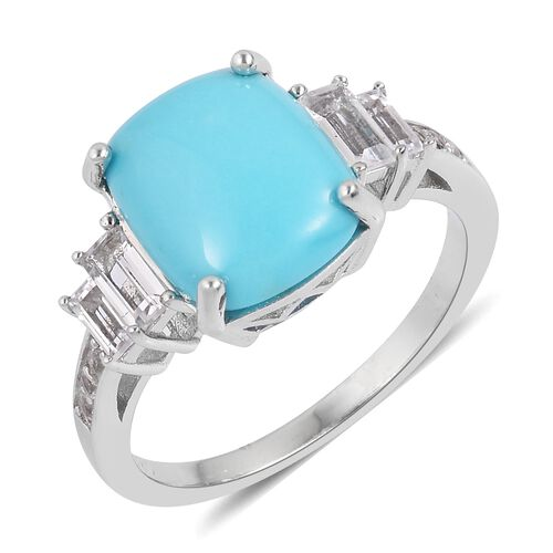 Arizona Sleeping Beauty Turquoise (Cush 4.25 Ct), White Topaz Ring in Rhodium Plated Sterling Silver