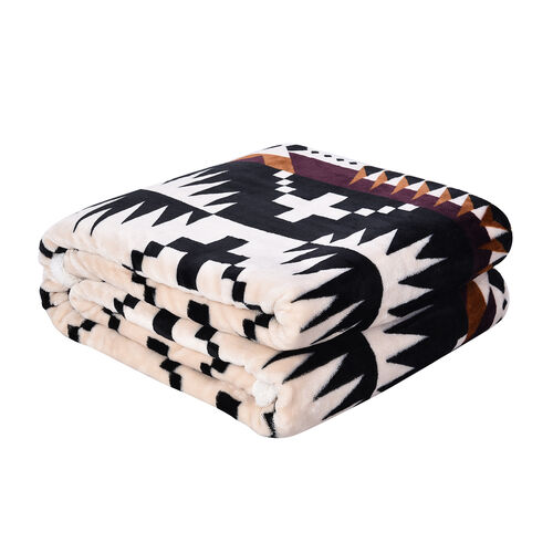 Serenity Night - Santa Fe Collection - Flannel Sherpa Blanket (200x150cm) - Black, Cream and Multi -  Oeko Tex Certified - 220 GSM Sherpa + 270 GSM Flannel