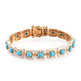 8 Carat Arizona Sleeping Beauty Turquoise Enamelled Station Bracelet in Gold Plated Silver 8 Inch