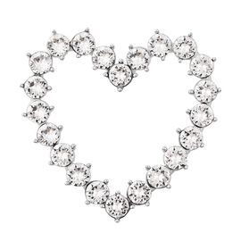 J Francis - Crystal from Swarovski White Crystal (Rnd) Heart Pendant in Rhodium Overlay Sterling Sil