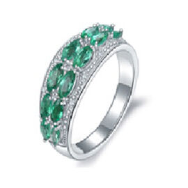 AAA Kagem Zambian Emerald (Mrq), Diamond Ring in Rhodium Overlay Sterling Silver