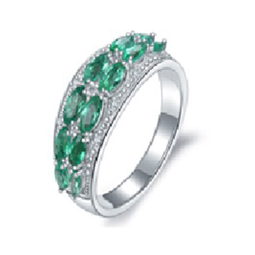 1.53 Ct AAA Kagem Zambian Emerald and Diamond Half Eternity Band Ring in Rhodium Plated Silver