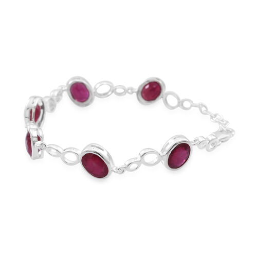 AAA African Ruby (FF) Bracelet (Size 7.5 with Extender) in Rhodium Plated Sterling Silver 16.500 Ct.