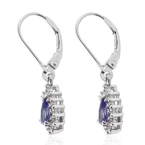 Tanzanite (Pear), Natural Cambodian Zircon Lever Back Earrings in Platinum Overlay Sterling Silver 1.150 Ct.