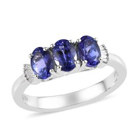 RHAPSODY 950 Platinum AAAA Tanzanite (Ovl 6x4mm), Diamond (VS/E-F) Ring 1.38 Ct.