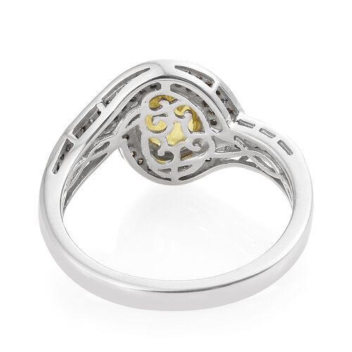 Chanthaburi Yellow Sapphire (Ovl 1.40 Ct), Natural Champagne Diamond Ring in Platinum Overlay Sterling Silver 1.750 Ct