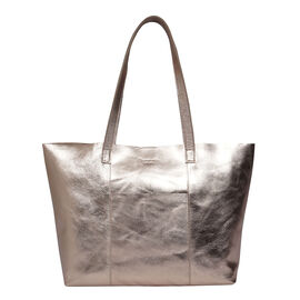 ASSOTS LONDON Genuine Leather Maisie Metallic Shopper Bag