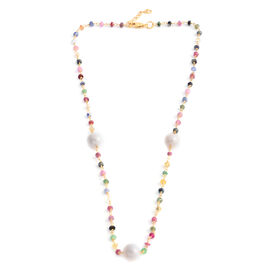 Designer Inspired- Fresh Water Pearl (13.50 Ct),Multi Sapphire Gold Overlay Sterling Silver Necklace (Size 19)  25.130  Ct.