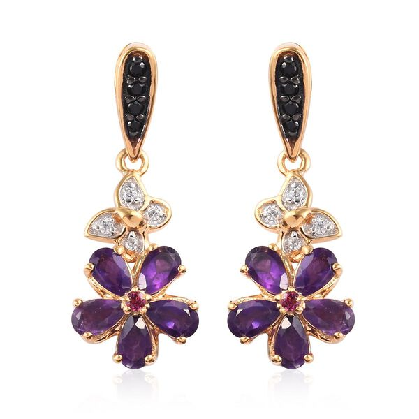 2.25 Ct GP Amethyst and Multi Gemstone Drop Earrings in Gold Plated Silver