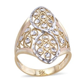 Royal Bali Collection 9K Yellow and White Gold Ring (Size O) Gold Wt 3.2 Grams