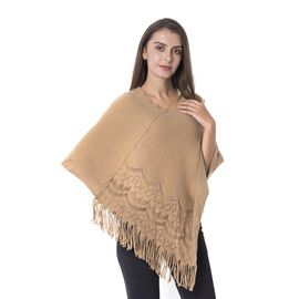 Hollow - Out Round and Wavy Pattern Poncho with Tassels (Size 70x65 Cm) Camel Brown
