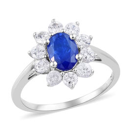 1.50 Carat Blue Spinel and Cambodian Zircon Halo Ring in Sterling Silver