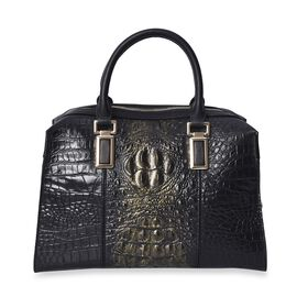 100% Genuine Leather Croc Embossed Tote Bag (Size 26.5x10.3x20.4 Cm) - Black and Gold