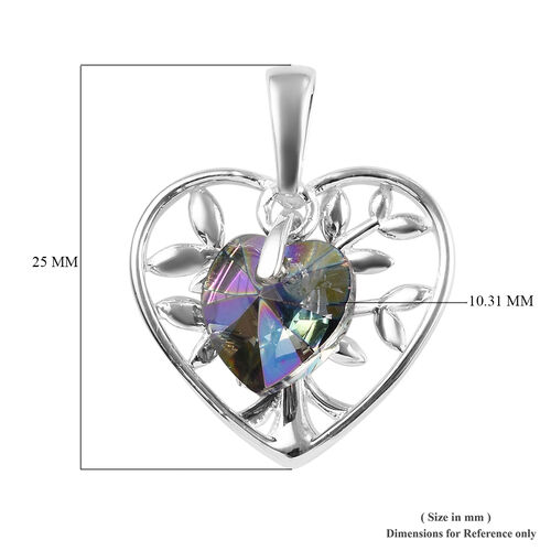 J Francis - Crystal from Swarovski Paradise Shine Crystal (Hrt) Pendant in Sterling Silver