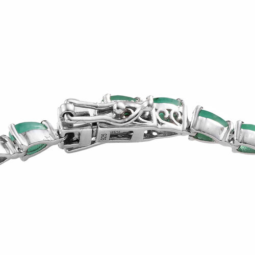 Kagem Zambian Emerald (Pear 5x3 mm) Bracelet (Size 8) in Platinum Overlay Sterling Silver 7.000 Ct, Silver wt 8.50 Gms.